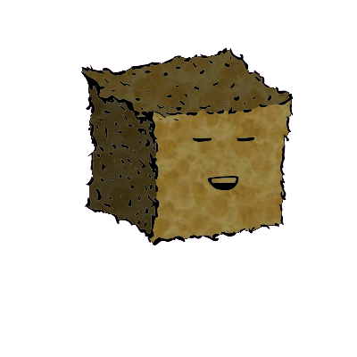 a small square crouton with a relaxed face (blinking)